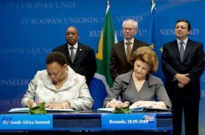 EU-South Africa summit 2010: A.Motshekga, j.Zuma, H. Van Rompuy, A.Vassiliou and M.Barroso